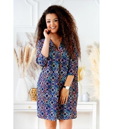 Granatowa sukienka w neonowy wzór - CHIARA