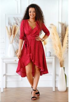 bordowa sukienka z asymetrycznym dołem