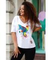 Biały t-shirt plus size z nadrukiem kolorowego kolibra - Irina