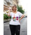 Biały t-shirt plus size z krótkim rękawem - wzór nutki - SASHA