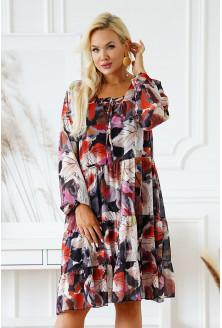 grafitowa sukienka w kolorowe liscie