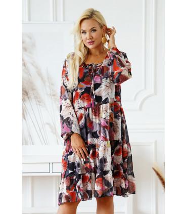 Grafitowa sukienka plus size w kolorowe liście z falbanami - Esma