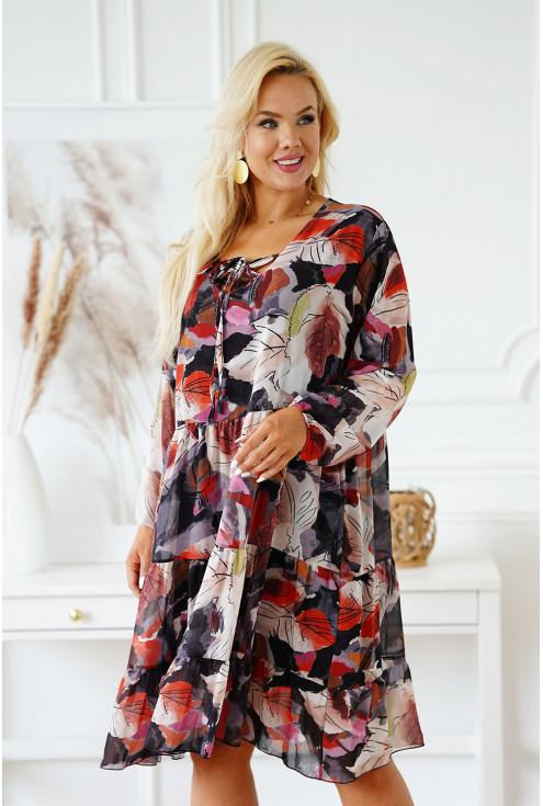 sukienka w kolorowe liście z falbanami