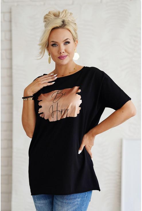 czarna bluzka plus size z nadrukiem