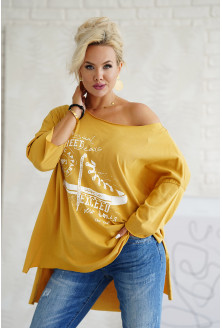 musztardowa bluzka plus size