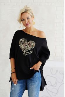 czarna tunika z sercem XXL