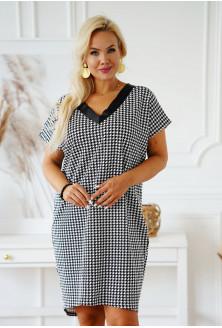 Dresowa sukienka z dekoltem V we wzór w pepitkę - Felisa