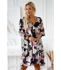 Czarna sukienka w kolorowe kwiaty - Saline