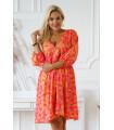 Różowa sukienka w pomarańczowe liście - Saline