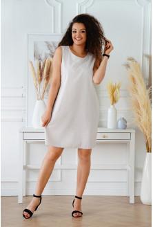 Szaro-beżowa sukienka na szerokie ramiączka