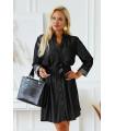 Sukienka szmizjerka z wiązaniem w pasie w kolorze czarnego jeansu - Tieri