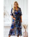 Sukienka maxi z kopertowym dekoltem w chabrowo-brązowy marmurek - ADELA