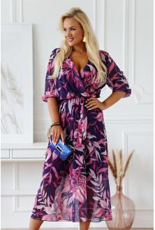 sukienka maxi w różowe liście