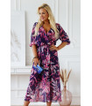 Fioletowa sukienka maxi z kopertowym dekoltem w różowe liście - ADELA