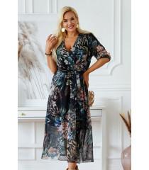 Czarna sukienka maxi w liście i kwiaty z kopertowym dekoltem - ADELA