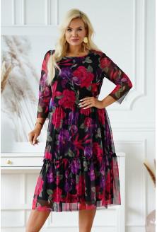 Czarna sukienka plus size z siateczki z wzorem kwiatowym - Katie