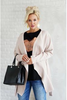 Beżowy ciepły płaszczyk plus size - wiązany w pasie - Trish