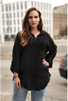 Czarna letnia koszula plus size muślin xxl