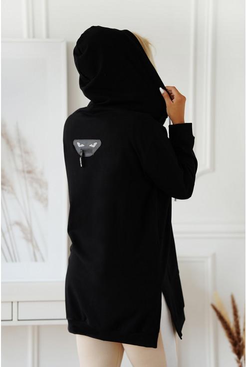 stylowa czarna bluza z kapturem xxl - tył