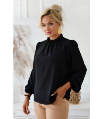 Czarna wizytowa bluzka plus size z długim rękawem - Sherri
