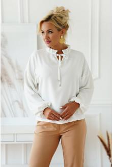 biała bluzka wizytowa plus size