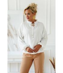 Biała wizytowa bluzka plus size z wiązaniem przy dekolcie - Marvi