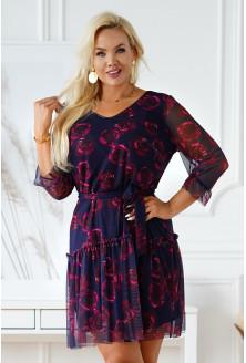 Granatowa sukienka plus size z siateczki z wzorem w róże  - Nikki