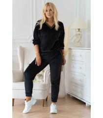 Czarny welurowy dres plus size z ozdobnym lampasem - zestaw - Lauresa