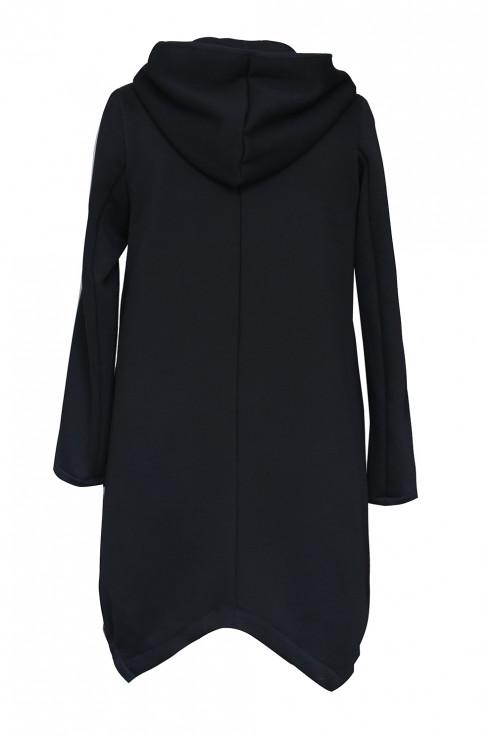 Czarna asymetryczna bluza z kapturem