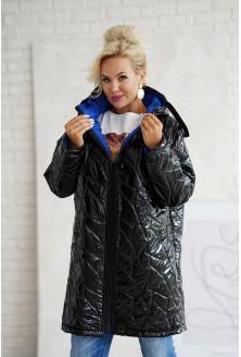Czarna ciepła długa pikowana kurtka
