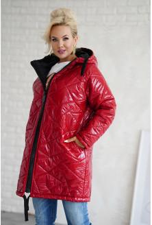 Czerwona długa pikowana kurtka XXL
