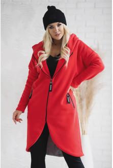 Czerwony ciepły płaszczyk plus size