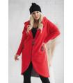 Czerwony ciepły płaszczyk plus size z kapturem - LAILA długi