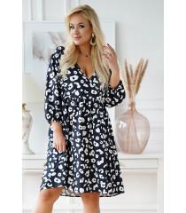 Czarna sukienka w białe cętki - Saline