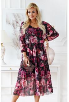 Czarna sukienka z siateczki w kwiaty