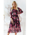 Czarna sukienka z siateczki w różowe kwiaty - Sintia