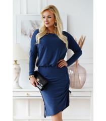 Ciepła sukienka ze ściągaczami po bokach w kolorze jeansowym - Ottavia