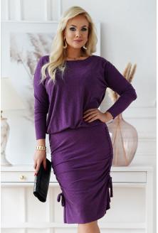 Śliwkowa ciepła sukienka ze ściągaczami