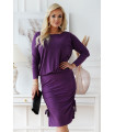 Śliwkowa ciepła sukienka ze ściągaczami po bokach - Ottavia