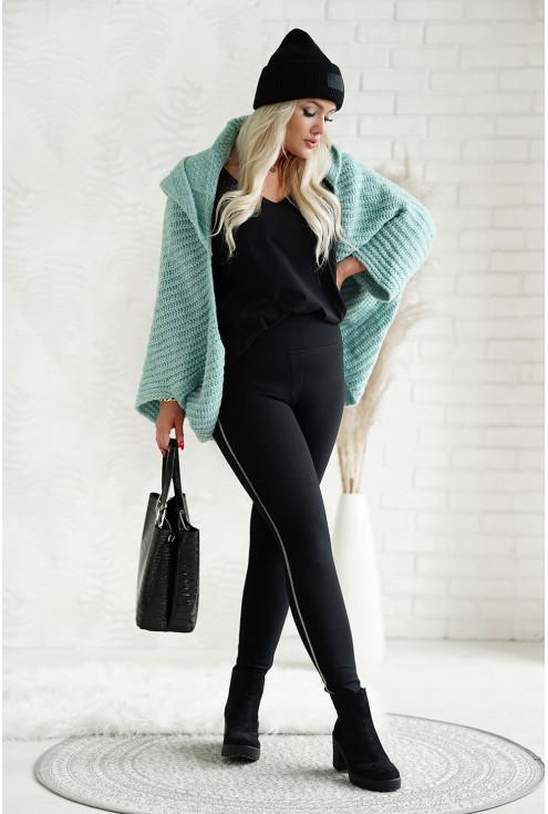 Morski sweter z grubym splotem i obniżoną linią ramion - xxl