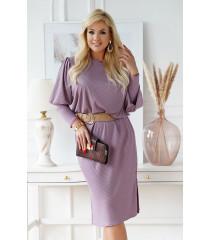 Liliowa sukienka z prążkiem z długim rękawem i bufkami - Laresa