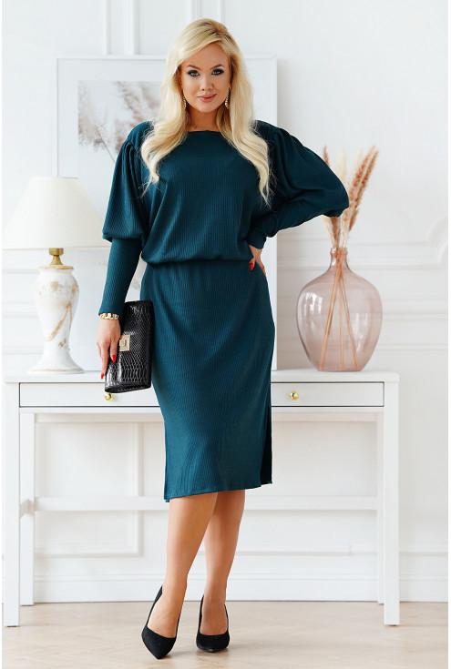 Butelkowa sukienka XXL z bufkami