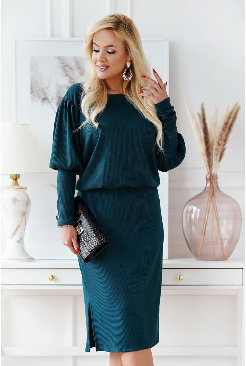 Butelkowa sukienka z długim rękawem