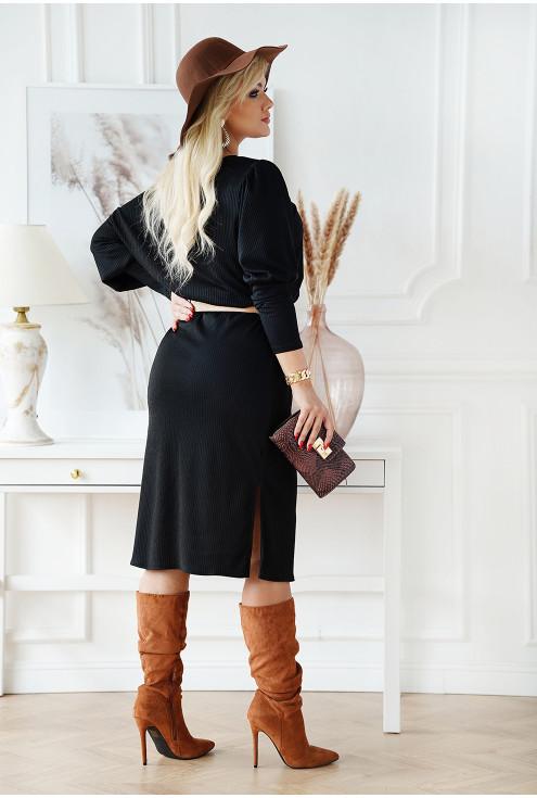 czarna sukienka z  długim rękawem XXL