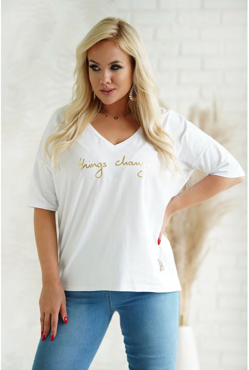 Biały t-shirt plus size dłuższym rękawkiem