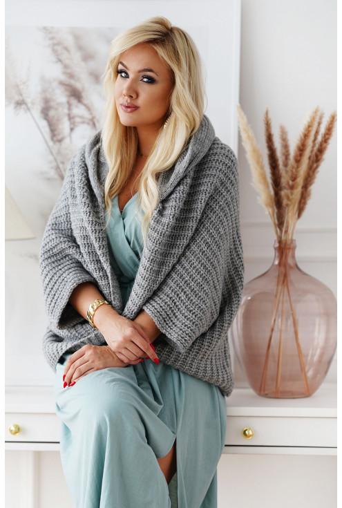 Szary sweter z kapturem plus size