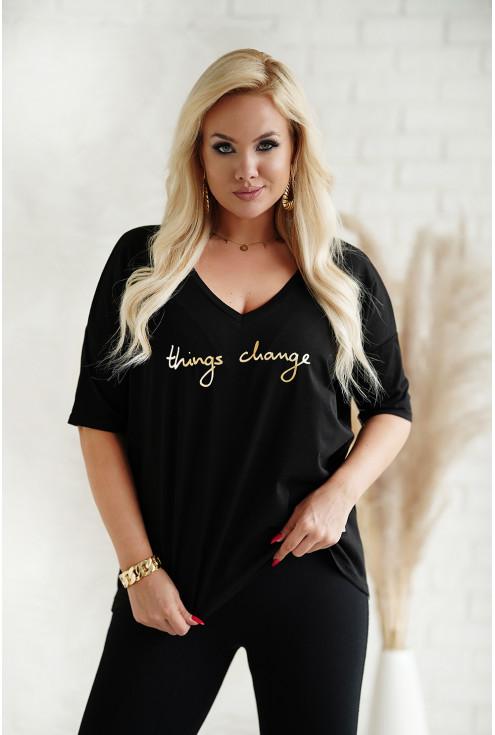 Czarny t-shirt plus size ze złotym napisem
