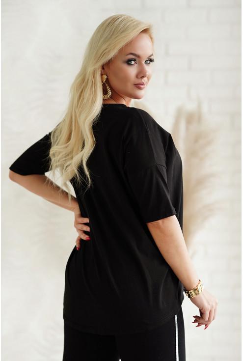 czarny T-shirt w dużych rozmiarach