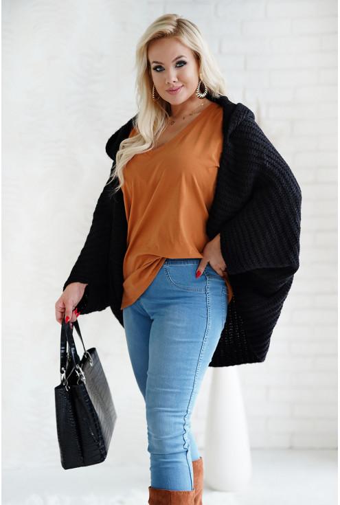 Czarny sweter z kapturem XXL
