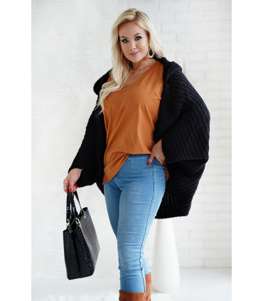 Czarny sweter z kapturem i obniżoną linią ramion - Silma